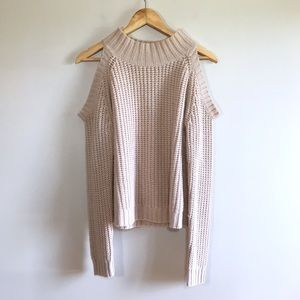Sweaters - Dusty Rose Cold Shoulder Cable Knit Pink Sweater